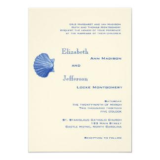 Elegant Blue Rattan Seashell Wedding Invitation