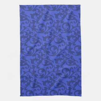 Elegant Blue Renaissance Damask Swirls Hand Towel