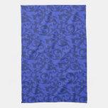 Elegant Blue Renaissance Damask Swirls Hand Towels