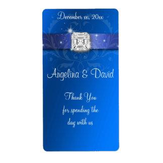 Elegant Blue Ribbon Diamond Wine/Water Label