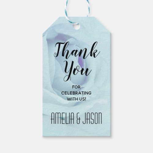Elegant Blue Rose Floral Thank You Favors Gift Tags