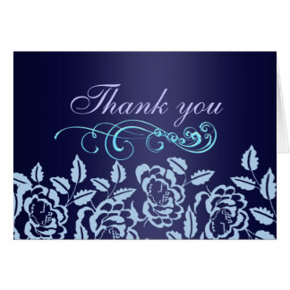 Elegant Blue Rose Thank You Card