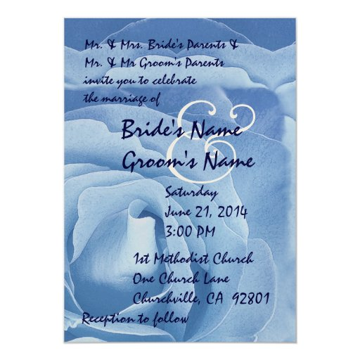 Elegant BLUE Rose Wedding Invitation