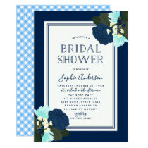 Elegant Blue Roses Floral Bridal Shower Invitation