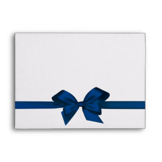 Elegant Blue Satin Bow on White Envelope