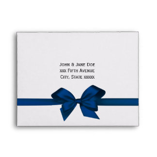 Elegant Blue Satin Bow on Wht RSVP Return Address Envelope