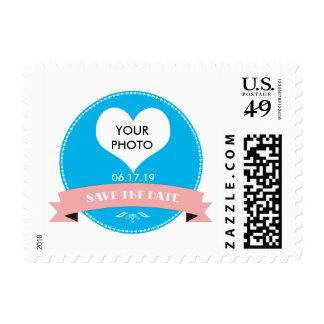 Elegant Blue Save the Date Stamp