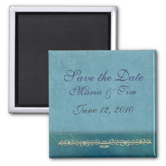 Elegant blue save the date template 2 inch square magnet