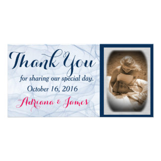 elegant blue script  wedding photo thank you cards
