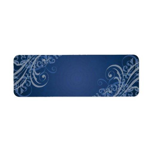 Elegant Blue Scroll Blue Blank Address Label
