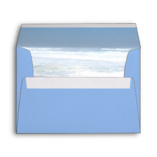 Elegant blue sea summer wedding envelope