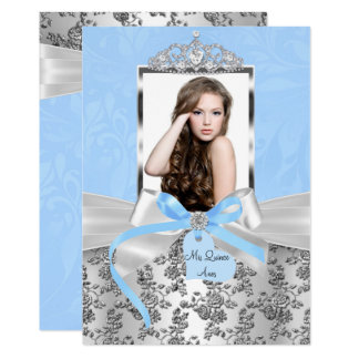 Elegant Blue Silver Bow & Rose Photo Quinceanera Card