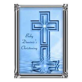 Elegant Blue Silver Christening Invitations
