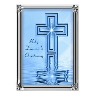 Elegant Blue & Silver Christening Invitations