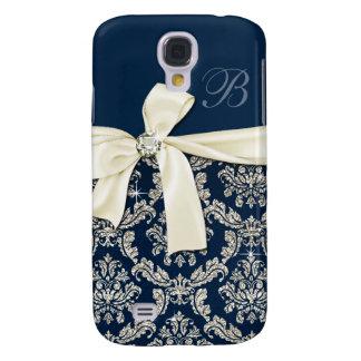 Elegant Blue Silver Damask Diamond Bow Monogrammed Galaxy S4 Cases