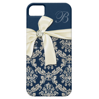 Elegant Blue Silver Damask Diamond Bow Monogrammed iPhone 5 Cover