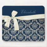 Elegant Blue Silver Damask Diamond Bow Monogrammed Mouse Pads