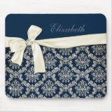 Elegant Blue Silver Damask Diamond Bow Customized name Mousepad