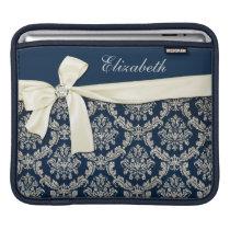 Elegant Blue Silver Damask Diamond Bow Monogrammed Sleeve For iPads