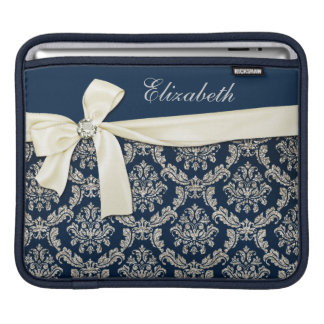 Elegant Blue Silver Damask Diamond Bow Monogrammed Sleeve For iPads