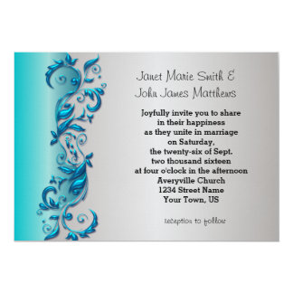 Elegant Blue & Silver Florid Wedding Design Card