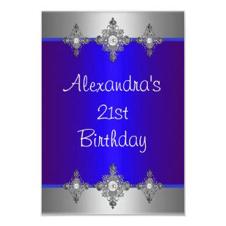 Elegant Blue Silver Jewel 21st Birthday Custom Invite