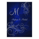 "Elegant Blue Silver Monogram Wedding Invitation 5"" X 7"" Invitation Card"