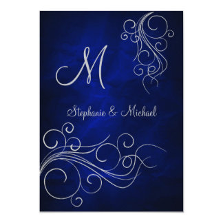 Elegant Blue Silver Monogram Wedding Invitation