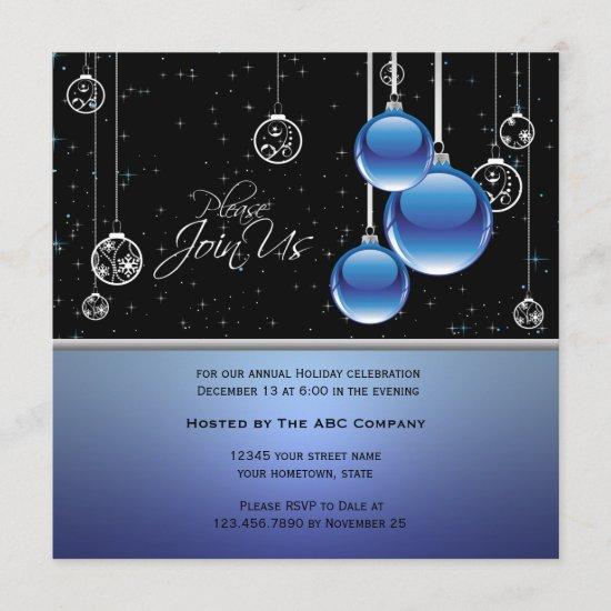 Elegant Blue Silver Ornaments on Black Invite