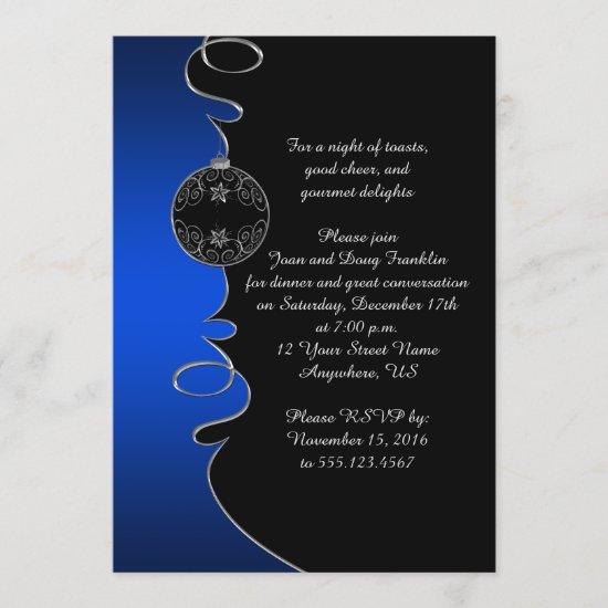 Elegant Blue Silver Swirls Black Christmas Party Invitation