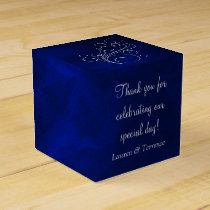 Elegant Blue Silver Wedding Favor Box