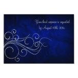 Elegant Blue Silver Wedding RSVP Custom Invitations