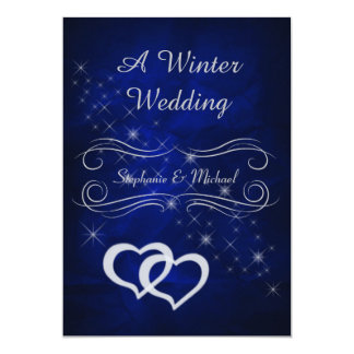 Elegant Blue Silver Winter Wedding Invitation