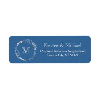 Elegant Blue & Silver Wreath Monochromatic Wedding Label