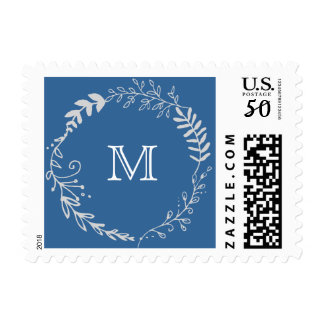 Elegant Blue & Silver Wreath Monochromatic Wedding Postage