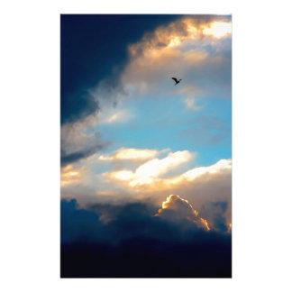 Elegant Blue Sky Creamy Clouds Stationery
