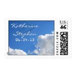 elegant blue sky white clouds postage stamps