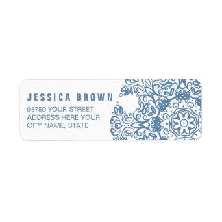 Elegant Blue Snow Flake return address label