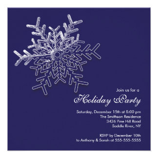 Elegant Blue Snowflake Holiday Christmas Party Personalized Invite
