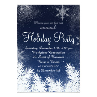 Elegant blue snowflake winter corporate holiday 5x7 paper invitation card