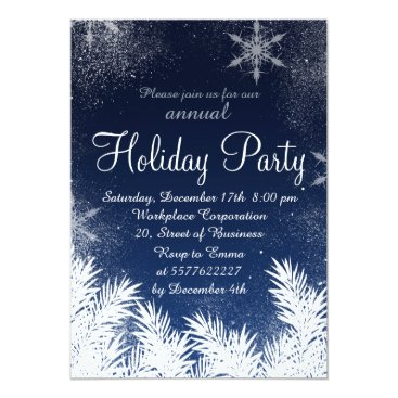 Christmas Themed Elegant blue snowflake winter corporate holiday card