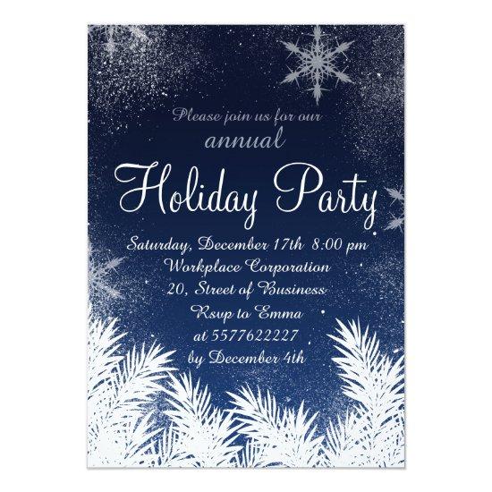 Elegant blue snowflake winter corporate holiday invitation