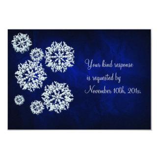 Elegant Blue Snowflake Winter Wedding RSVP Card