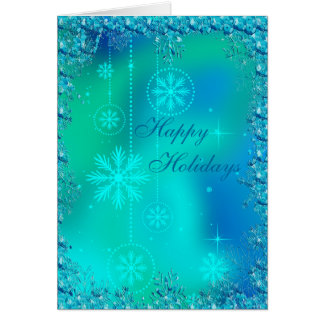 Elegant Blue Snowflakes & Sequins Christmas Greeting Cards