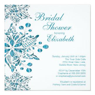 Elegant Blue Snowflakes Winter Bridal Shower Card