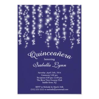 Elegant Blue Sparkling Lights Quinceañera Party Card