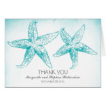 Elegant blue starfish couple wedding thank you card