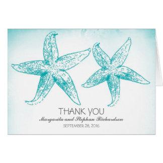 Elegant blue starfish couple wedding thank you card