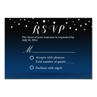 Elegant Blue Starry Night Wedding RSVP Card