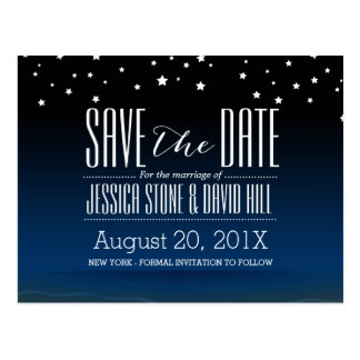 Elegant Blue Starry Night Wedding Save the Date Postcard